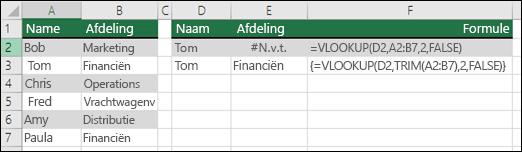 VERT.ZOEKEN gebruiken met SPATIES.WISSEN in een matrixformule om voorloopspaties en volgspaties te verwijderen.  De formule in cel E3 is {=VERT.ZOEKEN(D2,SPATIES.WISSEN(A2:B7),2,ONWAAR)} en moet worden ingevoerd met Ctrl+Shift+Enter.