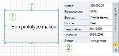 Een processhape zonder gegevensafbeeldingen