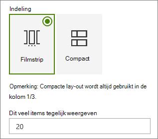 Indelings selectie in het eigenschappen venster van het webonderdeel gebeurtenissen.