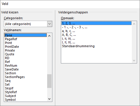 Onder Hulpmiddelen voor kop- en voetteksten op het tabblad Ontwerpen kiest u Snelonderdelen en vervolgens Veld om het dialoogvenster Veld te openen.