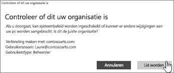 Klik op het scherm Controleer of dit uw organisatie is op Toevoegen
