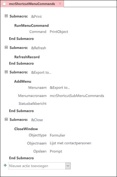 Schermafbeelding van een Access-macro met vier submacros