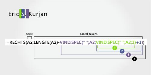 De tweede functie VIND.SPEC in een formule voor het scheiden van de voornaam, tweede naam en achternaam.