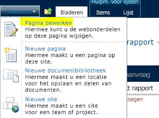 Opdracht Pagina bewerken in menu Siteacties