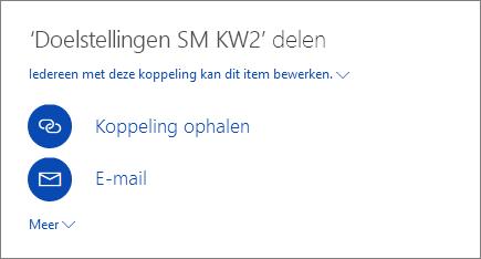Schermafbeelding waarin wordt aangegeven hoe u een bestand deelt in OneDrive