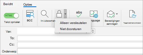 Met versleutelen knop in een e-mailbericht