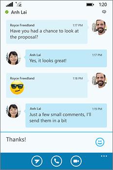 Uiterlijk van het nieuwe Skype voor Bedrijven voor Windows Phone; gespreksvenster