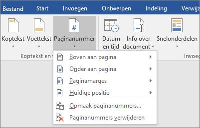 De opties voor paginanummers worden in een lijst weergegeven.