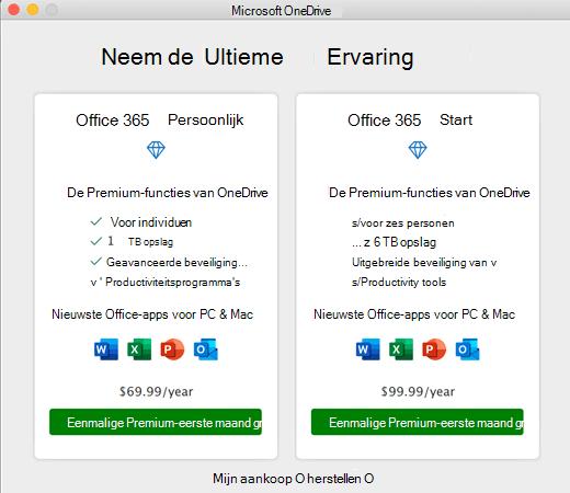 Schermafbeelding van het dialoogvenster Premium-ervaring in OneDrive