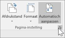 Schermafbeelding van werkbalk Pagina-instelling met Automatisch aanpassen ingeschakeld