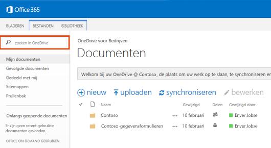 Schermafbeelding van het zoekvak voor OneDrive in Office 365.