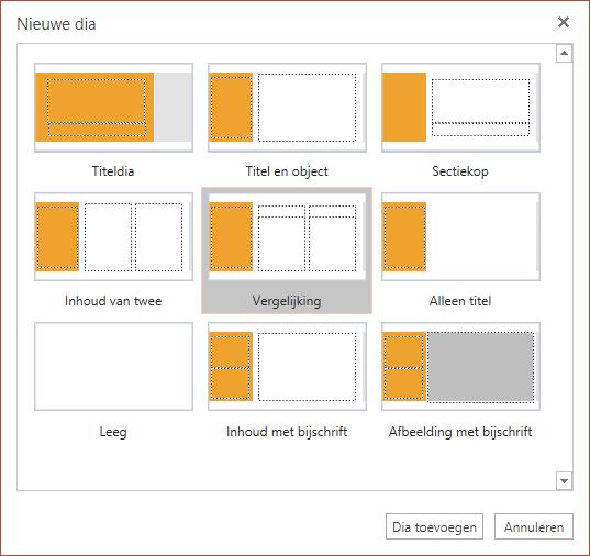 Het dialoogvenster Nieuwe dia in PowerPoint Online bevat verschillende dia-indelingen waaruit u kunt kiezen