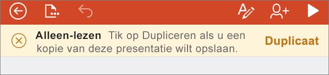 Geeft de melding Alleen-lezen weer na het openen van een ODF-bestand in PowerPoint voor iPhone