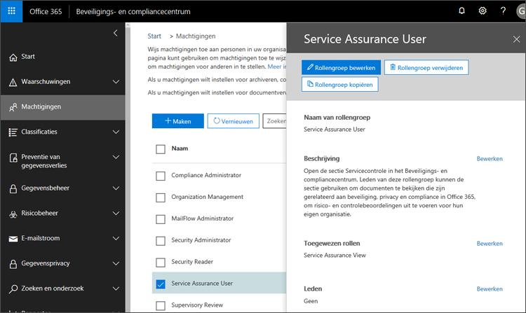 Gebruiker Assurance - service toevoegen