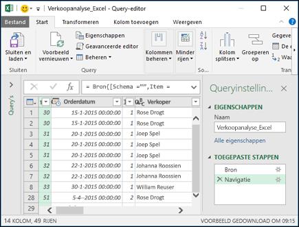 Deelvenster van Power query-editor