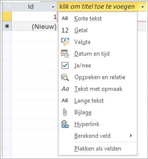 Schermfragment met vervolgkeuzelijst Klikken om (gegevenstype) toe te voegen