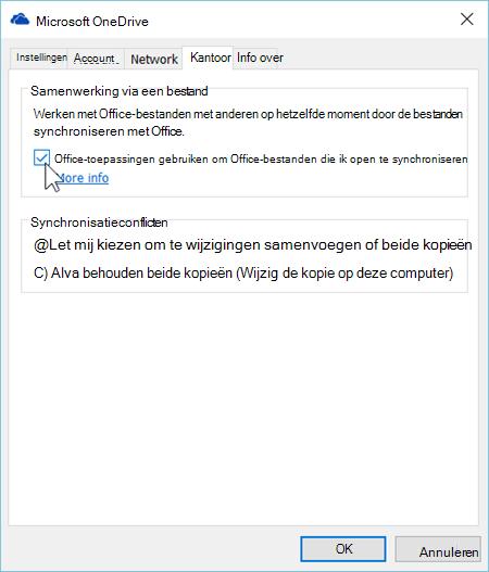 Schermafbeelding van het tabblad Office in de instellingen voor de synchronisatieclient van OneDrive