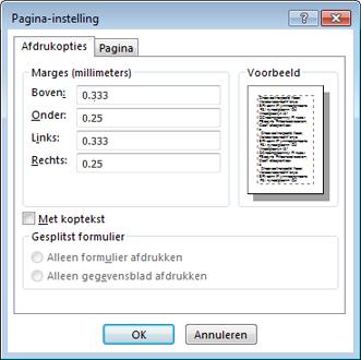 Het dialoogvenster Pagina-instelling