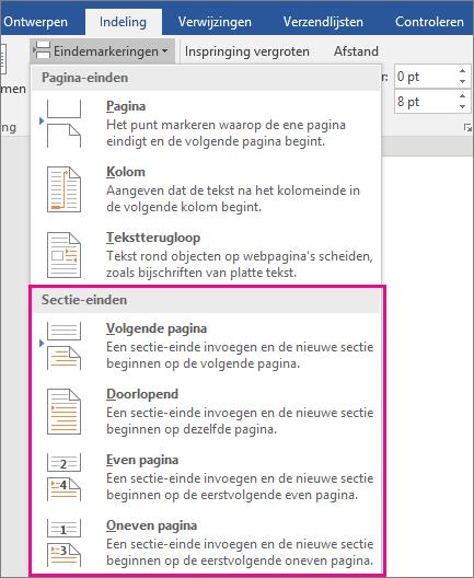 De soorten sectie-einden worden gemarkeerd op het tabblad Indeling.