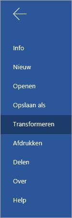De knop Transformeren om Word Online-documenten te converteren naar een Sway