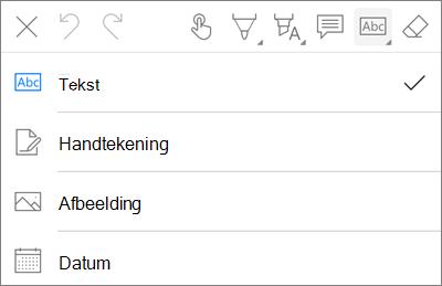 Het menu tekst opmaak in OneDrive voor iOS