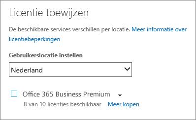 Schermafbeelding van het menu Licentie toewijzen zonder dat een abonnement is geselecteerd.