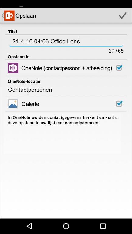 Schermafbeelding van de functie voor het exporteren naar contactpersonen in Office Lens voor Android.
