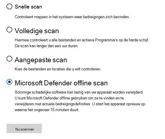 Het dialoogvenster met opties voor scannen waarop Microsoft Defender offline scan is geselecteerd.