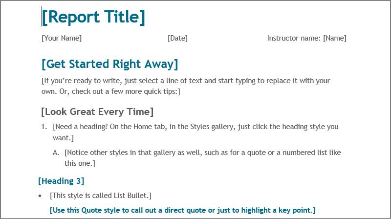 schermafbeelding van een eenvoudig rapport voor leerlingen/studenten