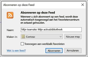 Dialoogvenster voor abonneren op RSS-feed waar u de mappen kunt wijzigen waar feeds terechtkomen