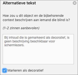 Het selectie vakje markeren als decoratief ingeschakeld in het deel venster alternatieve tekst in Excel voor Mac