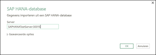 Dialoogvenster SAP HANA-database