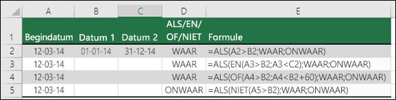 Voorbeelden van het gebruik van ALS met EN, OF en NIET voor het evalueren van datums