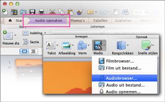 Audiobrowser openen