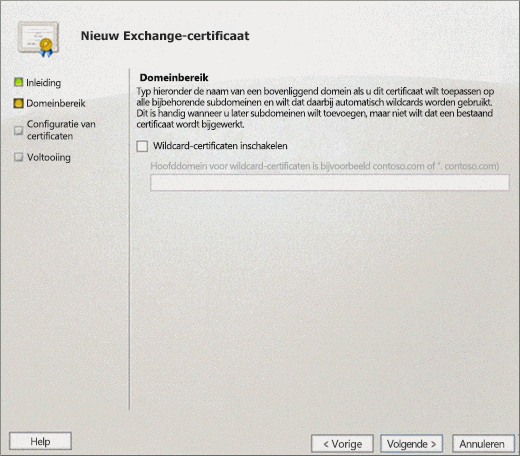 Domain Scope page on New Exchange Certificate wizard for Exchange 2010.