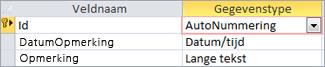De primaire sleutel AutoNummering is ingesteld als id in de ontwerpweergave van een Access-tabel