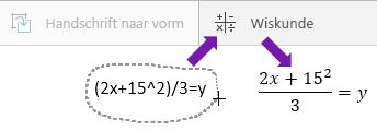 Geeft de getypte vergelijking weer, de knop wiskunde en de geconverteerde vergelijking