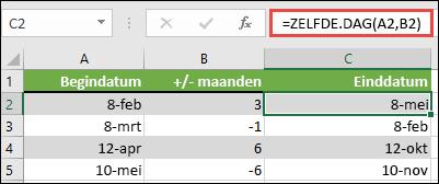 Gebruik zelfde. dag om maanden op te tellen bij of af te trekken van een datum. In dit geval = zelfde. dag (a2; B2) waarbij a2 een datum is en B2 het aantal maanden dat u wilt optellen of aftrekken.