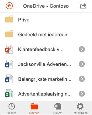 OneDrive-bestanden in Office Mobile