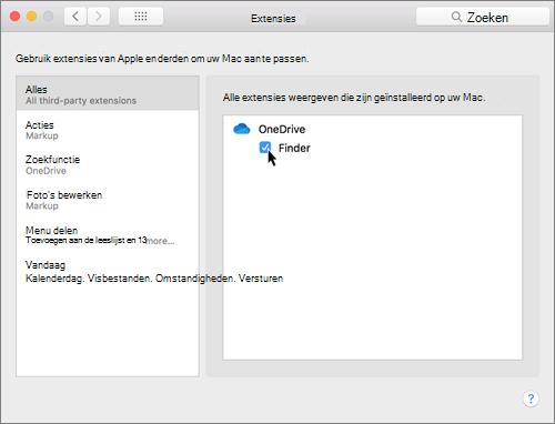 Schermafbeelding van Extensies in systeemvoorkeuren op een Mac