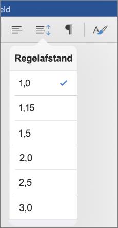Toont de opties voor regelafstand in Word voor iPad.