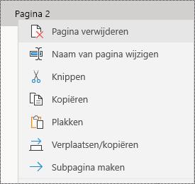 Pagina verwijderen in OneNote-app voor Windows 10