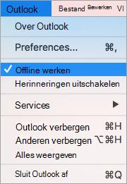 Hiermee wordt het Outlook-menu weergegeven met de optie Offline werken geselecteerd