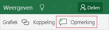 Een opmerking toevoegen in Excel Mobile voor Windows 10