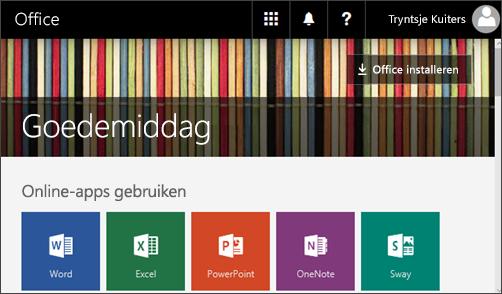 Schermafbeelding met de startpagina met knop Office installeren