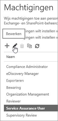 Toont geselecteerde rol Gebruiker servicecontrole en vervolgens het geselecteerde pictogram Bewerken.