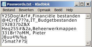 wachtwoordenlijst in een kladblok-bestand