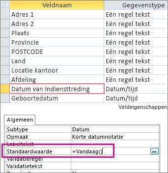 De standaardwaarde van een datum/tijd-veld instellen in een Access-tabel.