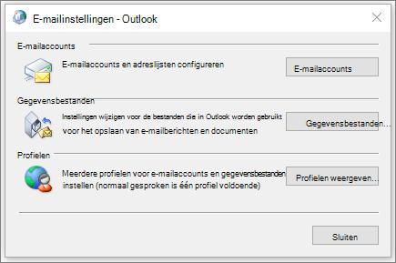 Het dialoogvenster mail in het Configuratiescherm