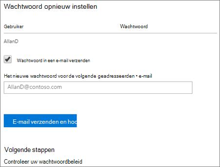 Schermafbeelding: Verzenden opnieuw wachtwoord melding e-mail aan gebruiker